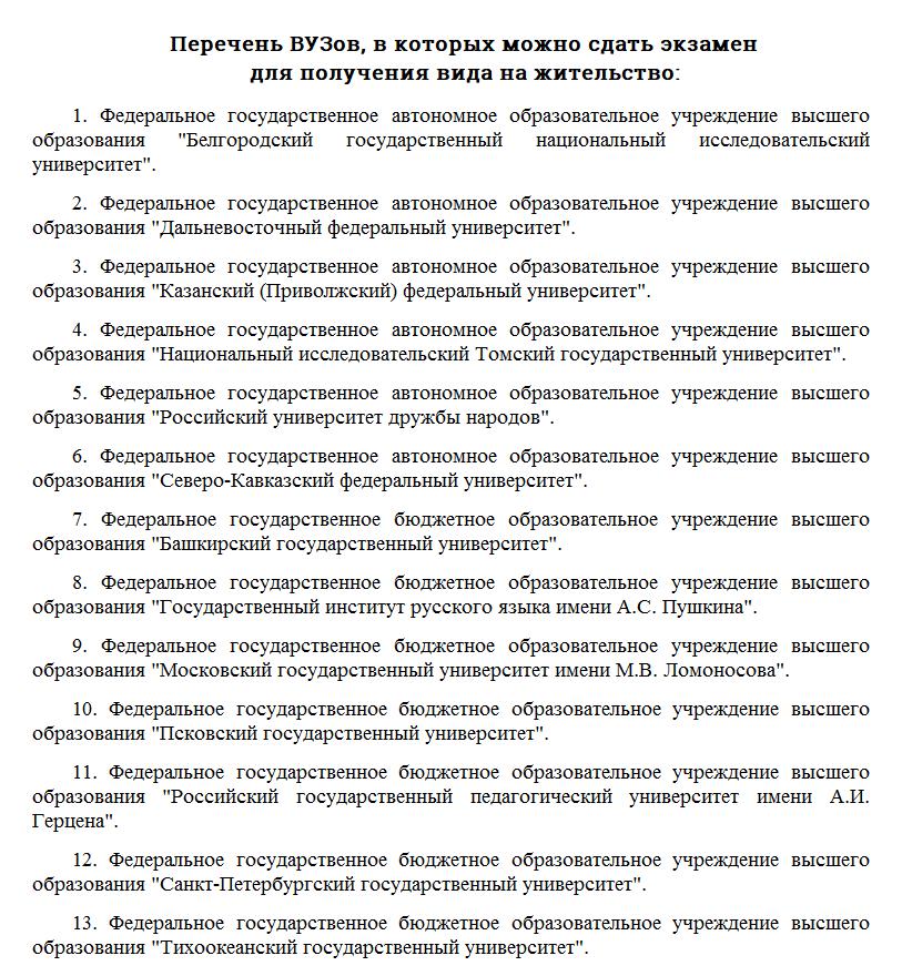 Перечень ВУЗов, где можно сдать экзамен на ВНЖ